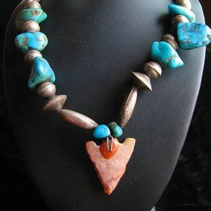 Jewelry - Navajo Old Pawn Turquoise and Arrowhead Necklace